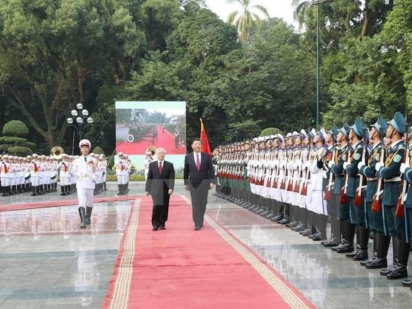 Nguyen Phu Trong preside la ceremonie d'accueil du dirigeant chinois Xi Jinping hinh anh 1