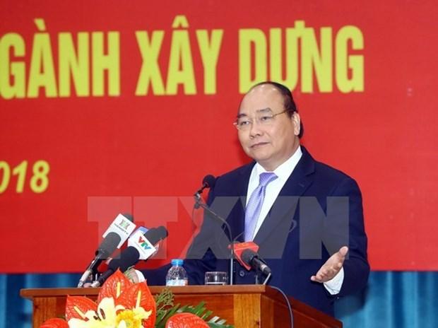 Le PM apprecie les realisations en 2017 du secteur de la Construction hinh anh 1