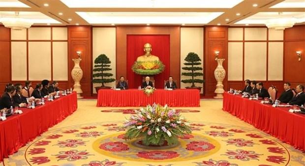 Le secretaire general Nguyen Phu Trong recoit les chefs de delegation participant a l'APPF-26 hinh anh 1