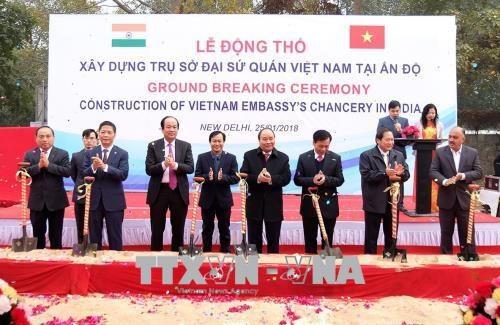 Le PM Nguyen Xuan Phuc lance les travaux de l'ambassade du Vietnam en Inde hinh anh 1