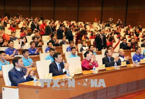 La presidente de l'Assemblee nationale recoit l'equipe U23 hinh anh 1