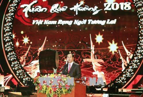 Le president Tran Dai Quang salue les Vietnamiens de l'etranger hinh anh 1