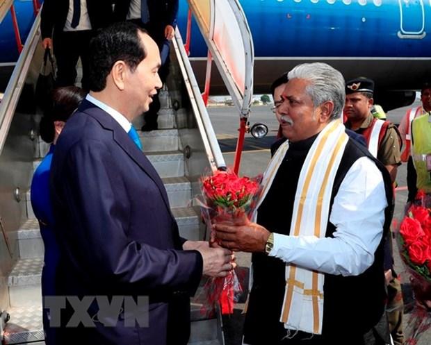 Le president Tran Dai Quang est arrive en Inde hinh anh 1