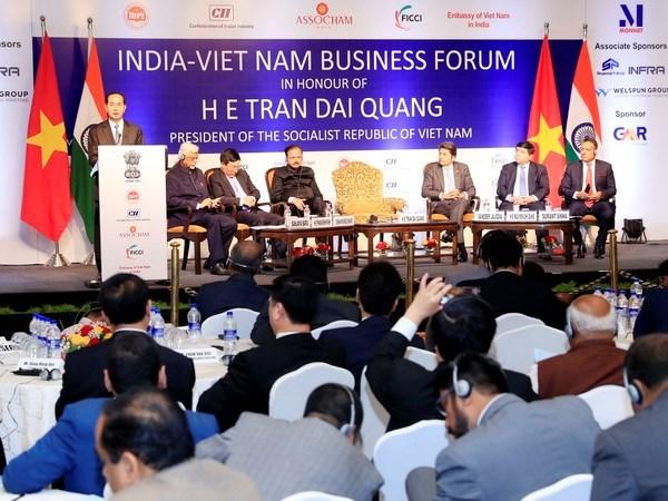Le president Tran Dai Quang participe a un forum d'affaires Vietnam-Inde hinh anh 1