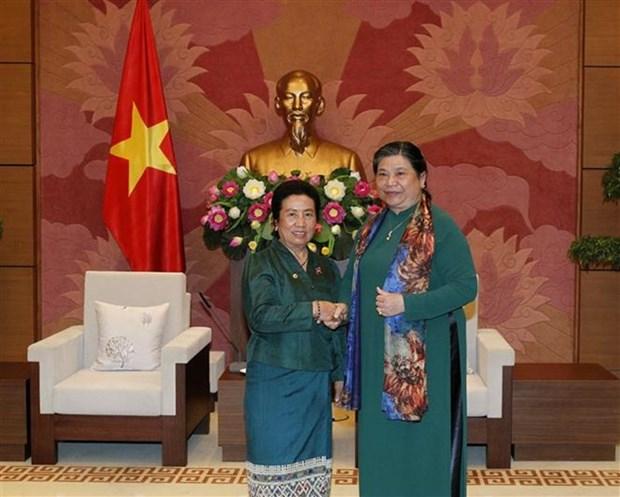 La vice-presidente de l'AN Tong Thi Phong recoit une delegation parlementaire du Laos hinh anh 1
