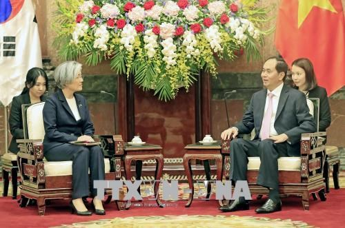 Le chef de l'Etat recoit la ministre sud-coreenne des Affaires etrangeres hinh anh 1