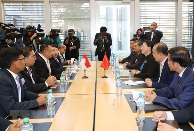 La presidente de l'AN rencontre son homologue indonesien a Geneve hinh anh 1