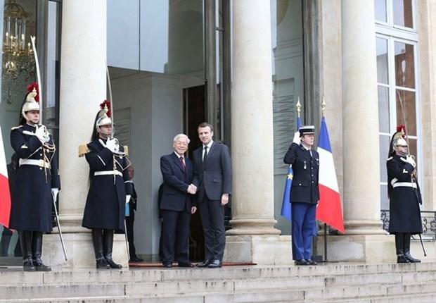 Vietnam-France : entretien entre Nguyen Phu Trong et Emmanuel Macron hinh anh 1