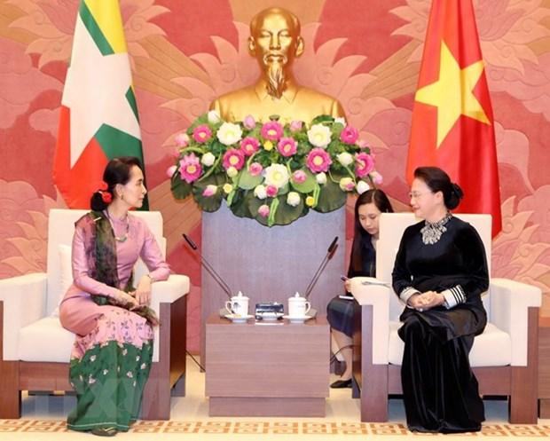 La presidente de l'AN recoit la conseillere d'Etat du Myanmar hinh anh 1