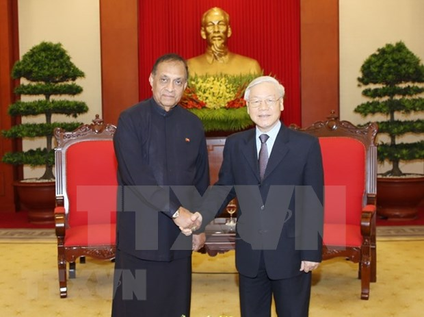 Le leader du PCV Nguyen Phu Trong recoit le president du parlement sri-lankais hinh anh 1