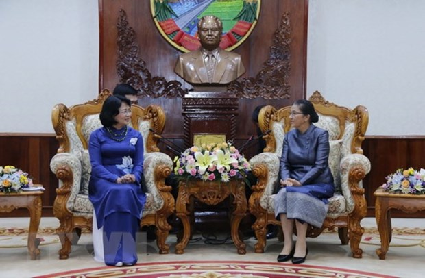 La vice-presidente Dang Thi Ngoc Thinh recoit le president de l'Association d'amitie Laos-Vietnam hinh anh 1