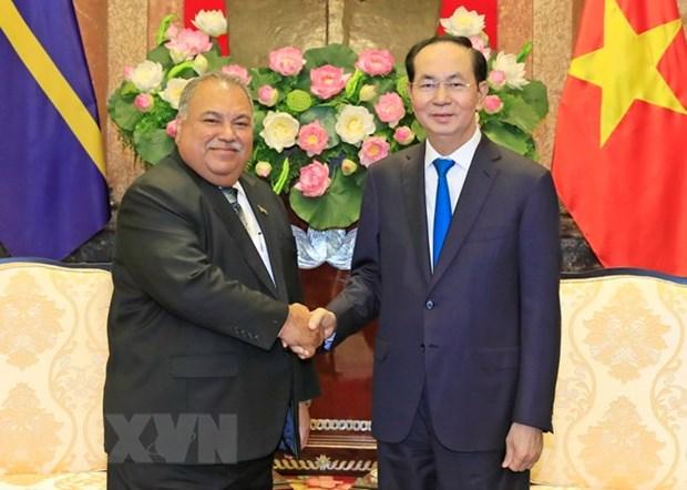 Le president Tran Dai Quang recoit son homologue de la Republique de Nauru hinh anh 1