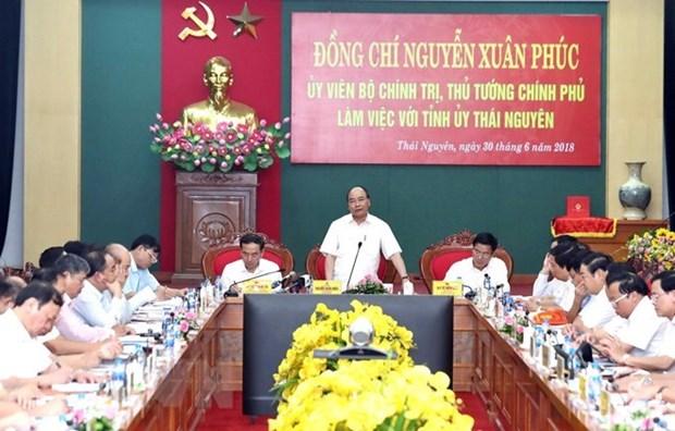 Le chef du gouvernement recommande trois piliers pour l'economie de Thai Nguyen hinh anh 1