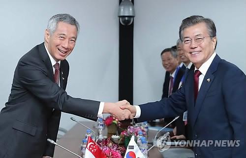 Le president sud-coreen entame une visite d'Etat a Singapour hinh anh 1