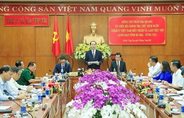Le chef de l'Etat exhorte Ba Ria-Vung Tau a utiliser efficacement les ressources hinh anh 1