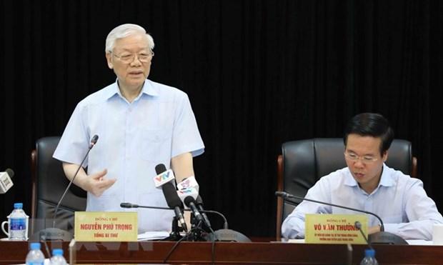 Le leader du PCV travaille avec la commission centrale de propagande et d'education du Parti hinh anh 1