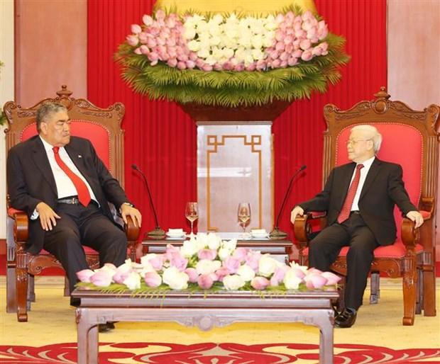 Le secretaire general Nguyen Phu Trong recoit un dirigeant de la Republique dominicaine hinh anh 1