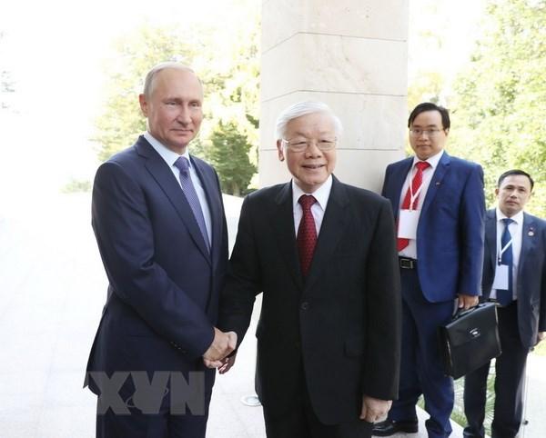 Le secretaire general du PCV s'entretient avec le president russe hinh anh 1