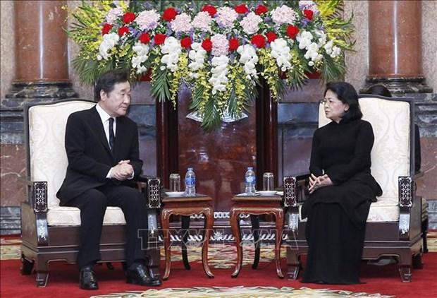 La presidente p.i Dang Thi Ngoc Thinh recoit le Premier ministre sud-coreen hinh anh 1