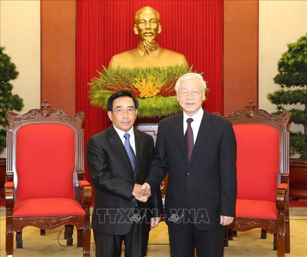 Le SG Nguyen Phu Trong rencontre le vice-president laotien Phankham Viphavan hinh anh 1