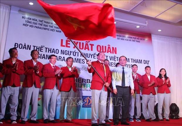 Les sportifs vietnamiens en Indonesie pour les Asian Para Games hinh anh 1