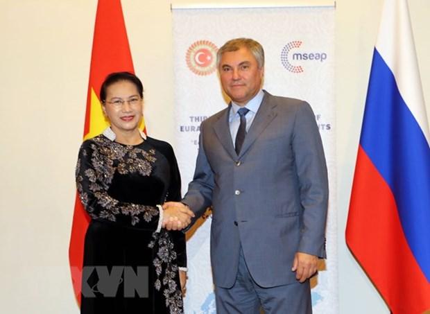La presidente de l'AN rencontre le president de la Douma d'Etat de Russie hinh anh 1
