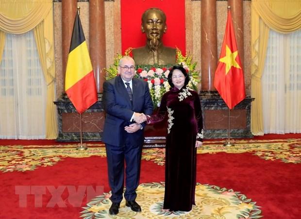 La presidente p.i du Vietnam Dang Thi Ngoc Thinh recoit de nouveaux ambassadeurs hinh anh 2