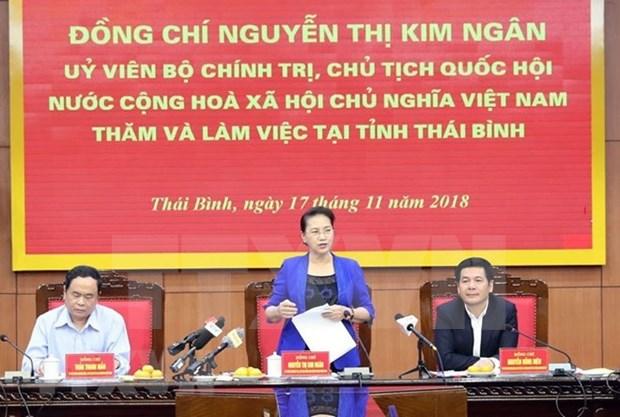 La presidente de l'AN exhorte Thai Binh a developer l'economie maritime hinh anh 1