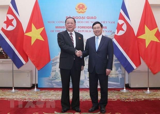 Le vice-PM et ministre des AE Pham Binh Minh s'entretient avec le ministre des AE de la RPDC hinh anh 1