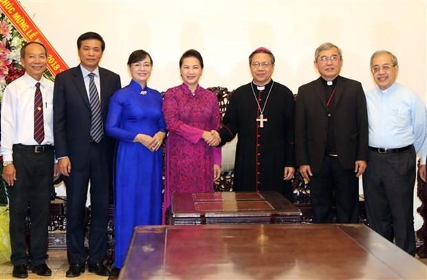 Noel : la presidente de l'AN adresse ses meilleurs vœux a l'archidiocese de Ho Chi Minh-Ville hinh anh 1