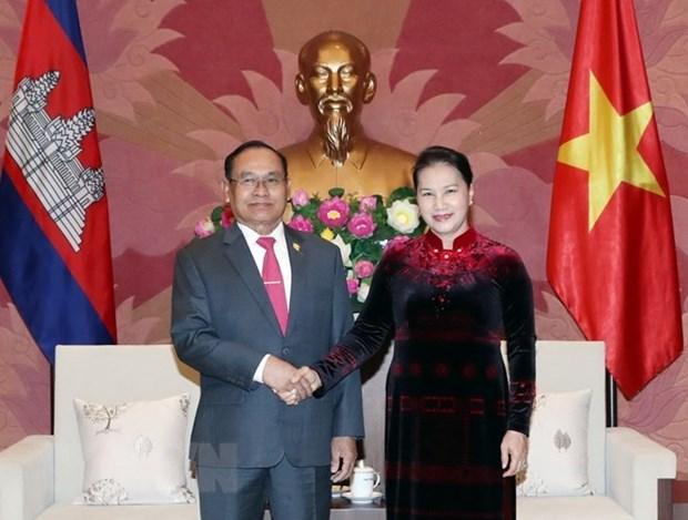 La presidente de l'AN recoit le vice-president du Senat cambodgien Tep Ngorn hinh anh 1