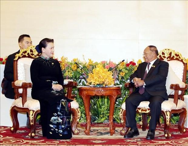 La presidente de l'AN appelle a l'achevement de la pose des bornes sur la frontiere Vietnam-Cambodge hinh anh 1