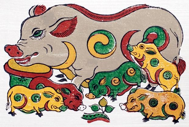 Dans les estampes de Dong Ho, tout est bon dans le cochon hinh anh 1