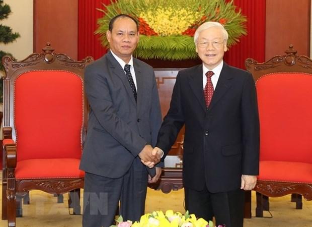 Le secretaire general et president Nguyen Phu Trong se felicite de l'essor des liens avec le Laos hinh anh 1