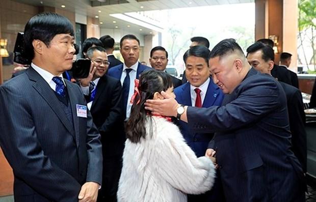 Le president de la RPDC Kim Jong-un arrive a Hanoi hinh anh 1