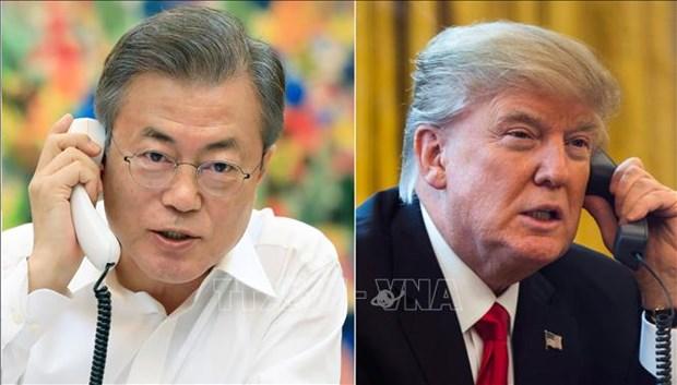Sommet Etats-Unis-RPDC: conversation telephonique Donald Trump et Moon Jae-in hinh anh 1