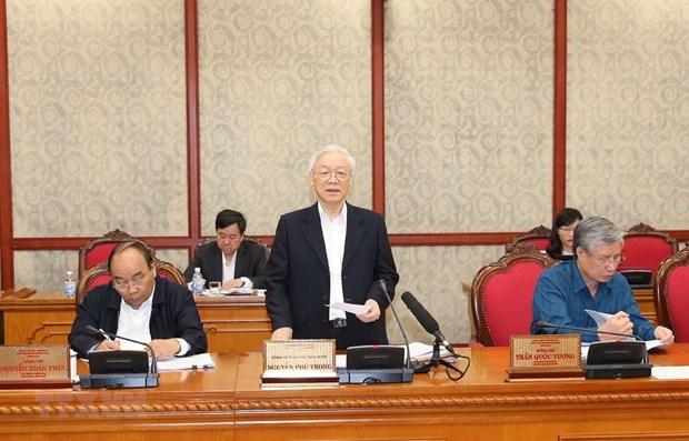 Le secretaire general Nguyen Phu Trong applaudit les progres accomplis dans la construction du Parti hinh anh 1