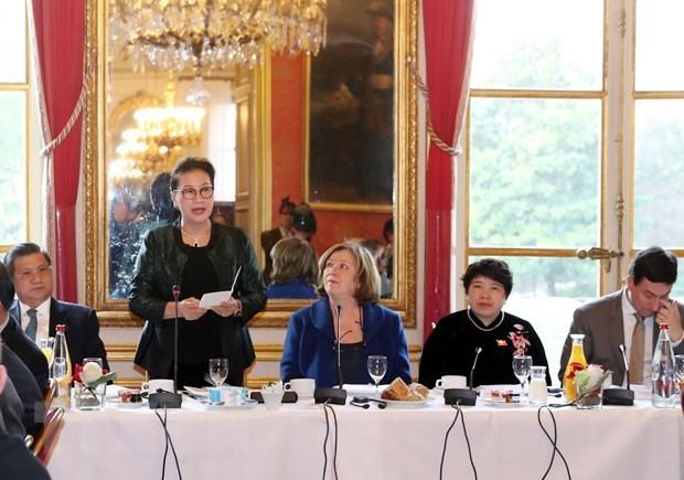 La presidente de l'AN rencontre des parlementaires et representants d'entreprises francaises hinh anh 1