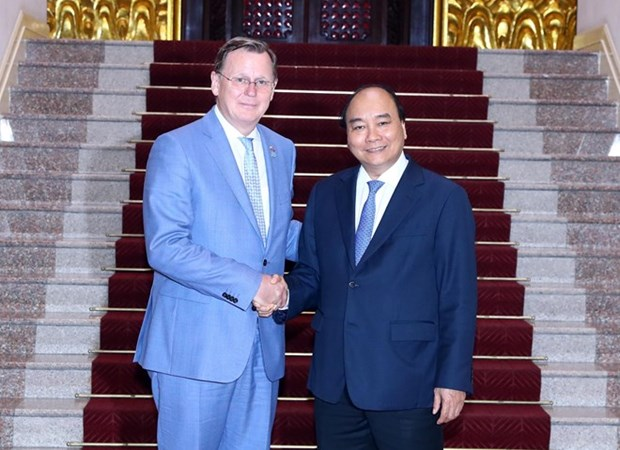 Le Premier ministre recoit le ministre-president allemand de Thuringe hinh anh 1