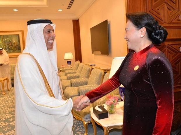 La presidente de l'AN vietnamienne rencontre le president du Conseil consultatif du Qatar hinh anh 1