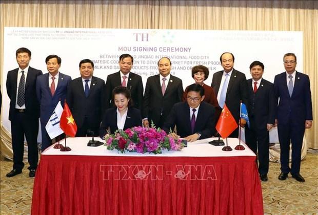 Le PM assiste a la signature d'un accord entre le groupe TH et son partenaire chinois hinh anh 1