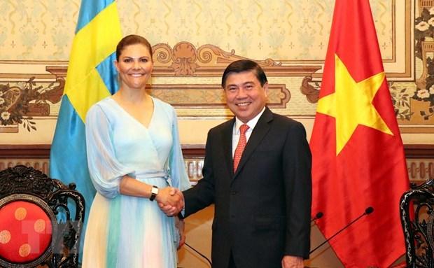 La princesse heritiere de Suede Victoria Ingrid Alice Desiree visite Ho Chi Minh-Ville hinh anh 1