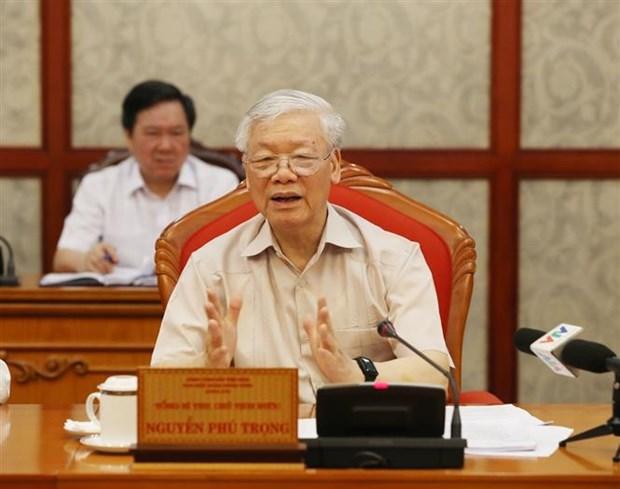 Le secretaire general du Parti et president Nguyen Phu Trong preside une reunion du Bureau politique hinh anh 1
