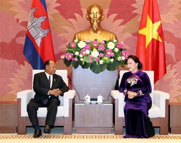 Entretien entre les presidents des AN du Vietnam et du Cambodge hinh anh 1