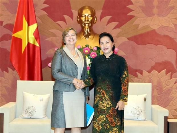La presidente de l'AN recoit la representante en chef de l'UNICEF au Vietnam hinh anh 1