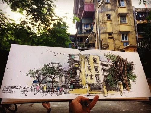 Ces dessinateurs urbains qui preservent les memoires de Hanoi hinh anh 3