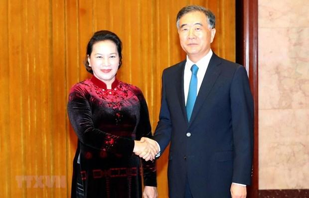 La presidente de l'AN vietnamienne rencontre le plus haut conseiller politique chinois hinh anh 1