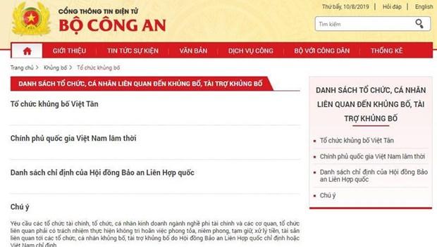 Le Vietnam publie la liste des organismes et individus lies au terrorisme hinh anh 1