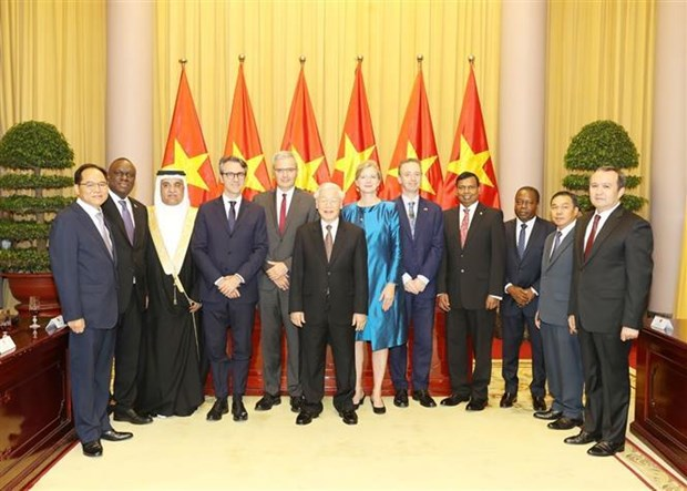 Le president Nguyen Phu Trong recoit de nouveaux ambassadeurs hinh anh 1