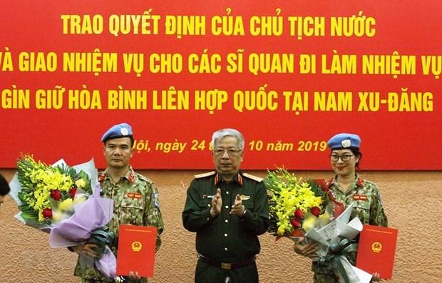 Deux nouveaux officiers vietnamiens en mission au Soudan du Sud hinh anh 1
